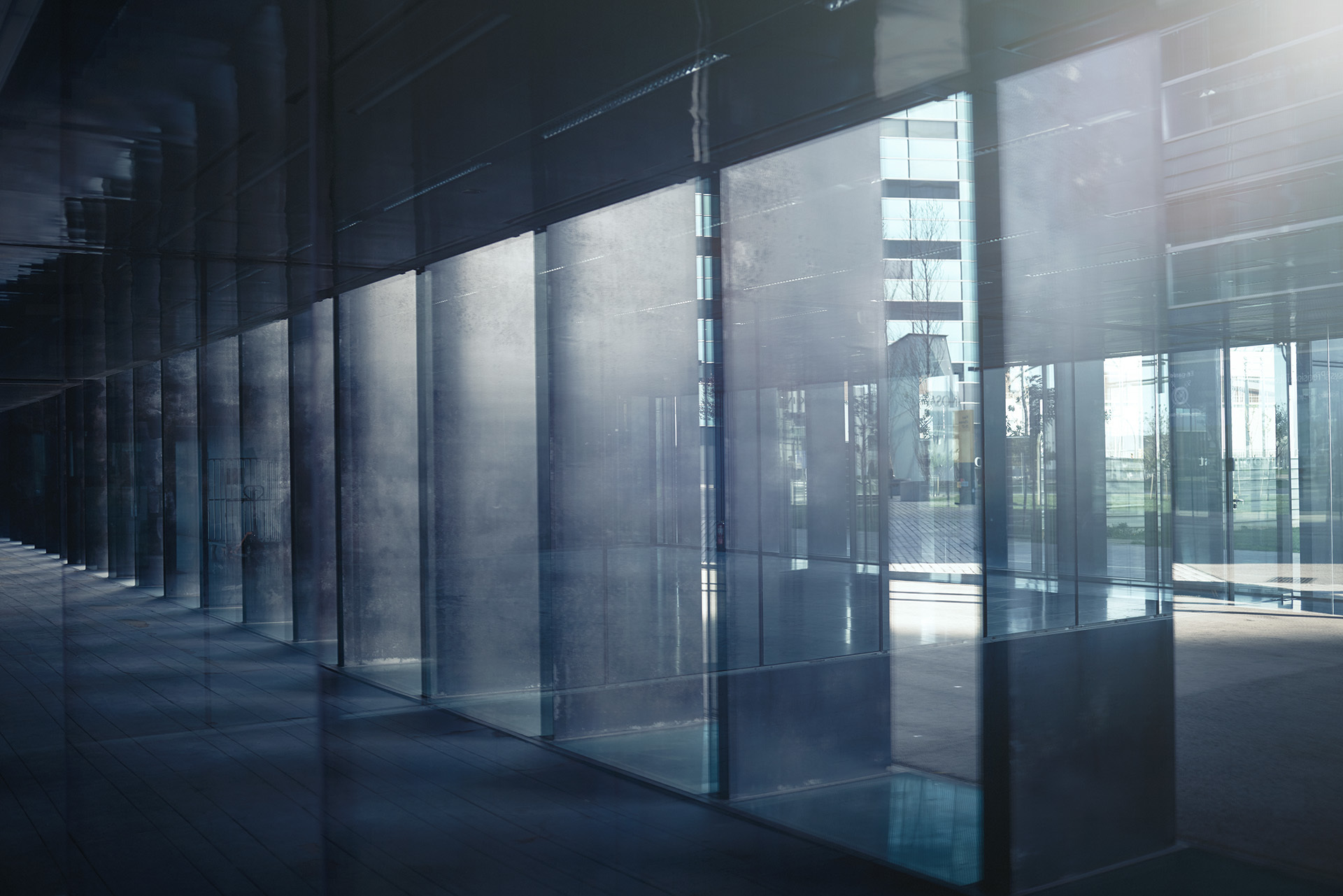 Glass corridor in modern building