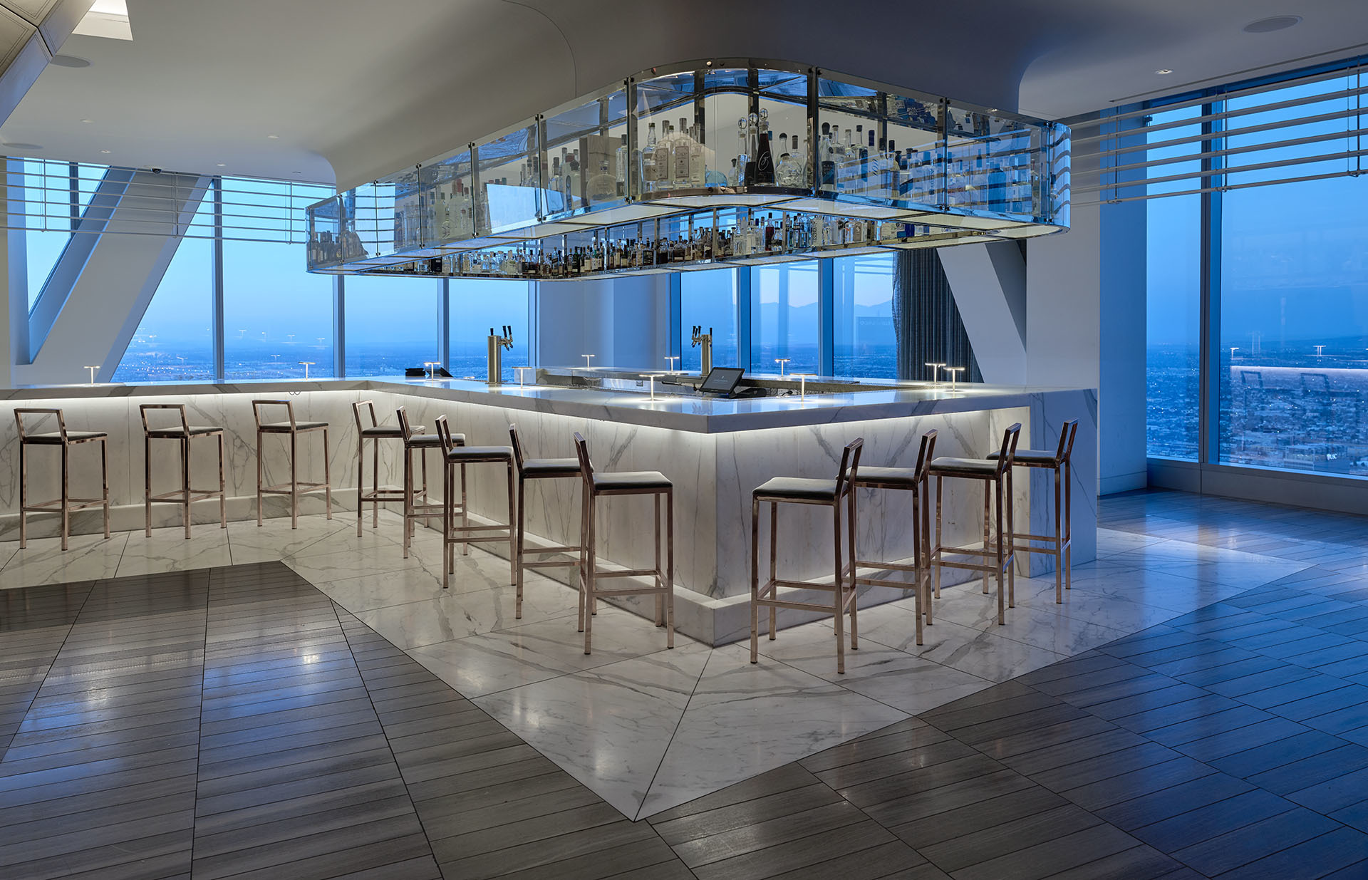 Empty bar in contemporary skyscraper